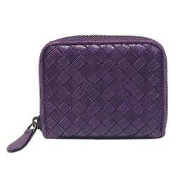 BOTTEGA VENETA Bottega Veneta Coin Case Inlet Chart Coin Purse Purple Leather [Medium