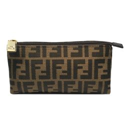 FENDI Fendi Pouch 7N0038 Khaki x Brown Canvas [Same as New] Men / Women