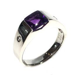 JEWELRY ジュエリー アメジストリング 指輪 リング シルバー×パープル×クリアー PT900 プラチナ ×