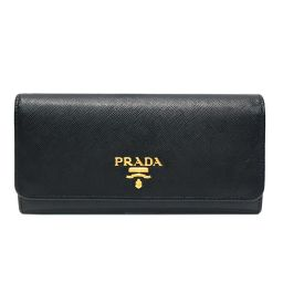 PRADA Prada ZIP wallet 1MH132 Black × Gold Saffiano Leather × Gold Hardware [Used] [La