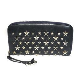 JIMMY CHOO FILIPA round zipper long wallet 0C2584 navy leather x studio
