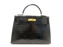 HERMES エルメス ケリー32 ハンドバッグ 外縫い ブラック ゴールド金具 クロコダイルポロサス □C刻印
