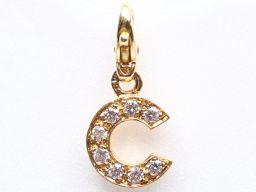 CHANEL シャネル Cモチーフチャーム ダイヤモンド クリアー K18YG(750) イエローゴールド x ダ