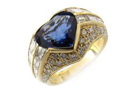 BVLGARI ブルガリ トロンビーノ サファイア ダイヤモンド リング 指輪 ネイビー K18YG(750) イ