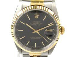 ROLEX ロレックス デイトジャスト ウォッチ 腕時計 メンズ 16233 ブラック ステンレススチール(SS)