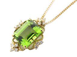 JEWELRY ジュエリー ペリドット ダイヤモンド ネックレス グリーン K18YG(750) イエローゴールド