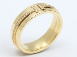 TIFFANY&CO ティファニー T TWOリング 指輪 クリアー K18YG(750) イエローゴールド  x