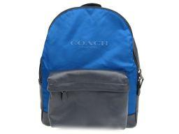 COACH コーチ リュックサック バックパック F59321 ブルー x ネイビー ナイロン  x レザー 【新