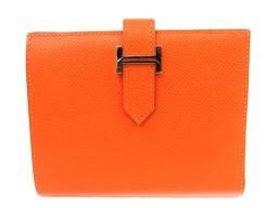 HERMES エルメス ベアンコンパクト 二つ折財布 オレンジ(金具:シルバー) ヴォーエプソン □H刻印 【中古