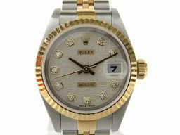 ROLEX ロレックス デイトジャスト 10Pダイヤ 腕時計 ウォッチ 69173G T番 シルバー K18YG(