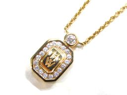 HARRY WINSTON ハリーウィンストン ロゴダイヤモンドネックレス ゴールド K18YG(750) イエロ