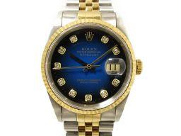 ROLEX ロレックス デイトジャスト 10Pダイヤモンド 腕時計 ウォッチ 16233G ブルー ステンレススチ