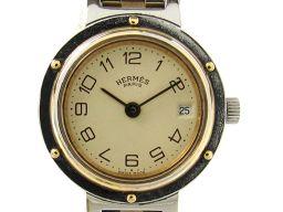 HERMES エルメス クリッパー ウォッチ 腕時計 レディース アイボリー ステンレススチール(SS)  x メ