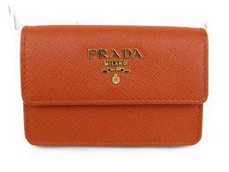 PRADA プラダ カードケース 1M0881 オレンジ 型押しレザー 【新品同様】 レディース