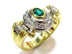 DAMIANI ダミアーニ エメラルドダイヤモンド リング 指輪 ゴールド K18YG(750) イエローゴールド