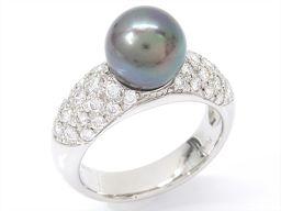 JEWELRY ジュエリー タヒチパールリング 指輪 ブラック PT900 プラチナ xタヒチパールxダイヤモンド