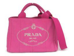 PRADA プラダ カナパトートPM 2wayトートPバッグ ピンク キャンバス 【中古】【ランクA】 レディース