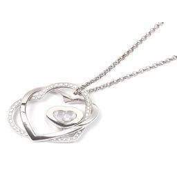 Chopard ショパール ハッピーダイヤモンドハートネックレス シルバー x クリアー K18WG(750) ホ