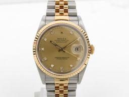 ROLEX ロレックス デイトジャスト 10Pダイヤモンド ウォッチ 腕時計 16233 S番 ゴールド K18Y