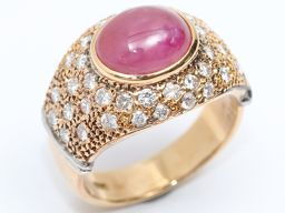 JEWELRY ジュエリー スターサファイア ダイヤモンド リング 指輪 レッド K18YG(750) イエローゴ