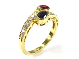 BOUCHERON ブシュロン サファイア ルビー ダイヤモンドリング 指輪 ゴールド K18YG(750) イエ