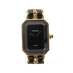 CHANEL シャネル プルミエールL 腕時計 ウォッチ H0001 ブラック GPxレザーベルト 【中古】【ラン
