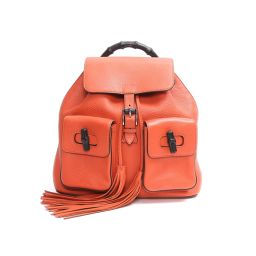 GUCCI Gucci Bamboo Backpack Suck Backpack 370833 Orange Leather x Bamboo [Used