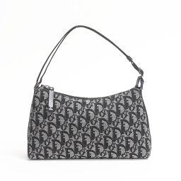 Dior クリスチャン・ディオール アクセサリーポーチ グレー x ブラック キャンバス 【中古】【ランクA】 レ