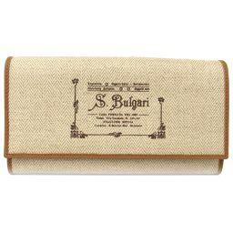 BVLGARI ブルガリ ZIP長財布 ベージュ x ブラウン レザー  x コーティングキャンバス 【中古】【ラ