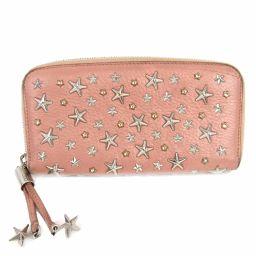 JIMMY CHOO Jimmy Chu studs round long wallet pink x silver leather [second hand] [rank B]