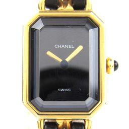 CHANEL シャネル プルミエールS ウォッチ 腕時計 ブラック レザーベルト xGP(ゴールドメッキ) 【中古