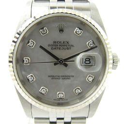 ROLEX ロレックス デイトジャスト 10Pダイヤベゼル ウォッチ 腕時計 16234NG シルバー K18WG