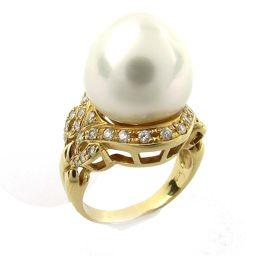 JEWELRY ジュエリー パール ダイヤモンド リング 指輪 ホワイト K18YG(750) イエローゴールド