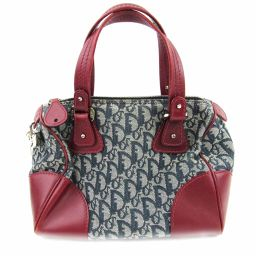 Dior Christian Dior Trotter Mini Boston Bag Navy × Wine Red Canvas x Leather