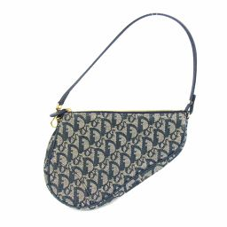 Dior Christian Dior Trotter Saddle Pouch Shoulder Bag Blue Canvas x Leather