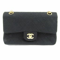 CHANEL Chanel Jersey Matrasse W Flap Chain Shoulder Bag Black Jersey [Pre]