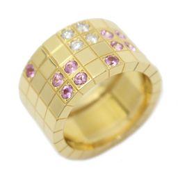 Cartier カルティエ パイエット リング 指輪 ピンク×クリアー K18YG(750) イエローゴールド ×