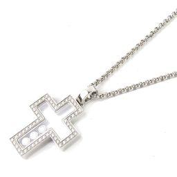 Chopard ショパール ハッピーダイヤモンド クロス ネックレス シルバー K18WG(750) ホワイトゴー