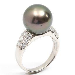 JEWELRY ジュエリー パール ダイヤモンド リング 指輪 黒真珠 グリーン PT900 プラチナ  x パー
