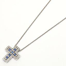 DAMIANI ダミアーニ ベルエポック クロス ダイヤモンド サファイア ネックレス ブルー K18WG(750