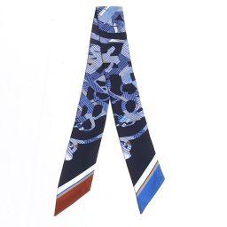 HERMES エルメス ツイリー スカーフ ネイビー x マルチカラー シルク 【中古】【ランクA】 レディース