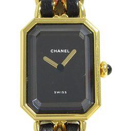 CHANEL シャネル プルミエールM ウオッチ 腕時計 H0001 ブラック GP(ゴールドメッキ) x レザー