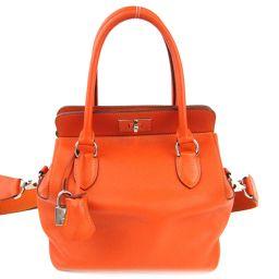 HERMES エルメス ツールボックス20 ハンドバッグ 2wayショルダーバッグ オレンジ (金具:シルバー)