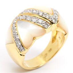 Ponte Vecchio ポンテヴェキオ マザーオブパール ダイヤモンド リング 指輪 アイボリー K18YG(