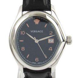 VERSACE ヴェルサーチ Vマスター ウォッチ 腕時計 20Q ブラック ステンレススチール(SS)  x レ