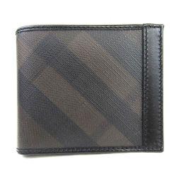 BURBERRY バーバリー 二つ折り財布 ブラック x ダークブラウン レザー  x コーティングキャンバス 【