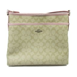 COACH Coach Shoulder Bag F34938 Beige X Pink Coated Canvas x Leather [Medium
