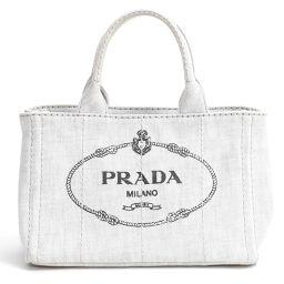 PRADA プラダ 2wayミニカナパトートバッグ グレー キャンバス 【中古】【ランクA】 レディース