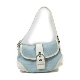 COACH Coach Shoulder Bag F10926 Blue X White Canvas X Leather [Used] [Rank B]