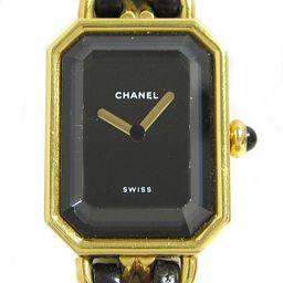 CHANEL シャネル プルミエールM ウォッチ 腕時計 H0001 ブラック レザーベルトxGP(ゴールドメッキ